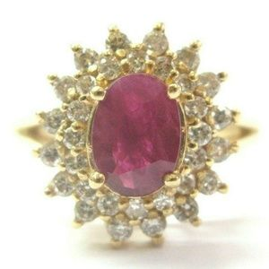 Jewelry - Oval Ruby & Diamond Cocktail Ring 14Kt Solid Yello